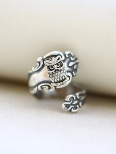 Spoon Ring,Bird Ring,Sparrow Silver Spoon Ring,Dove Ring,Antique Ring,Silver Ring,Wrapped,Adjustable,Bridesmaid. $24.99 USD Quantity  Ov...