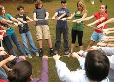 the challenge in this outdoor teamwork games ?The group must create assigned geometric shapes.Let your teams join this outdoor teamwork games