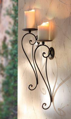 Iron Furniture, Furniture Decor, Wrought Iron Candle Holders, Iron Gate Design, Wrought Iron Decor, Candle Stand, Metal Wall Decor, Metal Walls, Metal Art