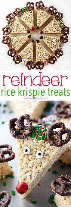 Rice Krispie Treats - Brenda Costa - Reindeer Rice Krispie Treats Reindeer Rice Krispie Treats ~ a cute, festive, and easy to make Christmas recipe that's a fun holiday project for the kids and a yummy treat to share with neighbors and friends! Brownie Desserts, Oreo Dessert, New Year's Desserts, Holiday Desserts, Holiday Baking, Holiday Treats, Holiday Recipes, Holiday Gifts, Gourmet
