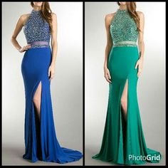 Illusion Two Piece Set, Floor Length Sheath Shape Prom and Evening Dress has Sparkling Jewels Embellished Bodice with Halter Neck and Semi Sheer Back with Zipper Closure, Solid Color Long Skirt has Sweeping Train and High Front Slit.