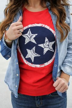 TN Tennesse Flag Inspired Vintage Feel Tshirt. Must have