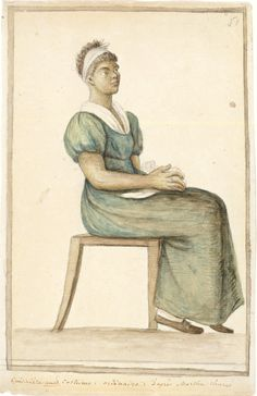 """Portrait of an African-American Cook in """"Ordinary"""" Costume, by Baroness Anne-Marguerite-Henriette Hyde de Neuville (ca.1761-1849). Watercolor, graphite, and brown ink on paper. Purchase, New-York Historical Society, 1953.276."""