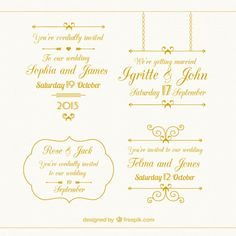 Golden wedding elements collection Free Vector