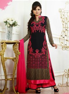 Palazzo Indian Suits | Buy Alluring Black Madhubala Palazzo Suit Online at Best Prices in ...