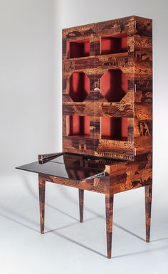 Uno Ahrén (1897-1977), The Garden of Eden Cabinet, 1925. Marquetry of Brazilian walnut, eucalyptus and tropical olive wood. Sweden. Courtesy Eric Philippe