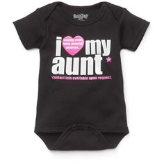 "Sara Kety ""I Love My Aunt"" Bodysuit ($20) ❤ liked on Polyvore"