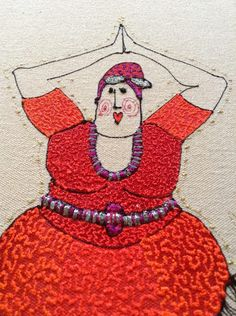 7 stages to producing each character - drawing, stitching, painting, embroidering, ironing, stretching, scanning