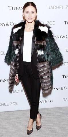 Palermo smartened up at the Rachel Zoe dinner in a black power suit that she made casual with a white top, a luxurious multicolored fur overcoat and mesh pumps.