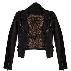 Leather Zipper Moto Jacket found on Polyvore