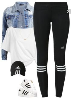 Adidas workout outfit, Leggings s, Adidas Superstar casual outfits with leggings - Casual Outfit Teenage Outfits, Teen Fashion Outfits, Swag Outfits, Mode Outfits, Outfits For Teens, Sport Outfits, Trendy Outfits, Fall Outfits, Legging Outfits