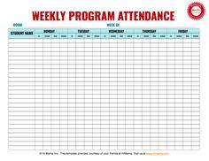 Daycare Sign In Sheet Template Weekly MF  Daycare Sign In