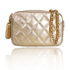 Chanel Gold Metallic Lamb Skin Cross Body Bag Rare | Portero Luxury