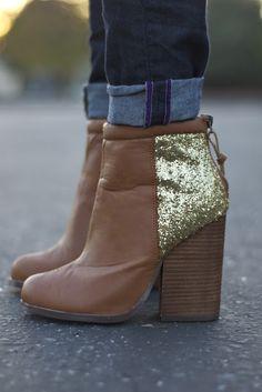 gold sparkle heel booties.