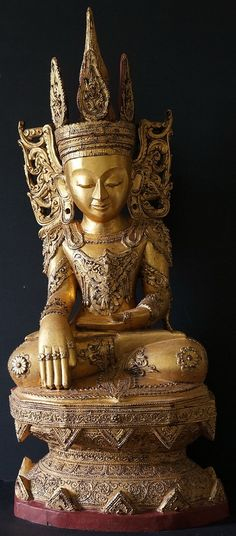 Burmese Wood Crowned Shan Buddha Statue Tai Yai Art 18th Century
