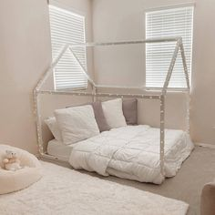 """""""How to solve sleeping problems for your little one? Such bed and room would be a good start as child will love it."""" Toddler Bed Frame, Kids Bed Frames, House Frame Bed, House Beds, Pink Bedding, Nursery Bedding, Bed Without Slats, Painted Beds, Wood Nursery"""