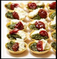 High tea menu ideas Roasted pepper, pesto & ricotta tartlets