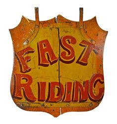 Hand-Painted Fast Riding Horse Barn Sign c1960