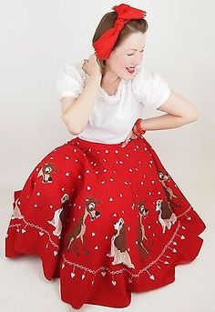 """50s Vintage Lady and the Tramp Novelty Print Red Cotton Circle Skirt 26"""" waist"""