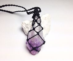 Raw Amethyst Point Necklace, Rough Amethyst Stone, Third Eye Crown Chakra Necklace, Healing Crystals and Stones, Purple Stone Macrame Jewelry by ChrizzaStones, $20.00  #crystals #metaphysical #amethystpoint