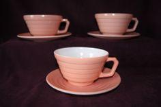 Lot of 6 Hazel Atlas Moderntone pastel pink 3 cups 3 saucers depression glass