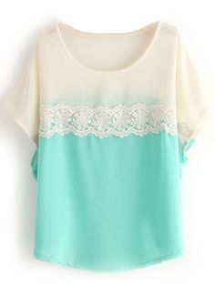 Green White Short Sleeve Lace Chiffon Blouse