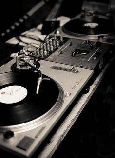 Turntables in black and white.