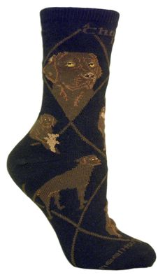 Chocolate Lab Dog Black Cotton Ladies Socks - Sunset Key Chains