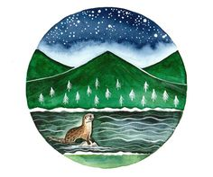 Original Watercolor painting River otter and by bluepalette
