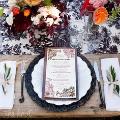 This toile vinage place setting is so elegant and the perfect contrast to rustic farm tables!