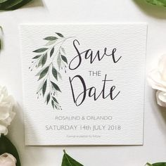 Botanical watercolour Save the Date.  #foliage #weddingfoliage #savethedatecard #botanicalwedding #greenerywedding #botanicalweddinginspo #greeneryinvitation #botanicalsavethedate #weddingstationeryinspo #customsavethedate