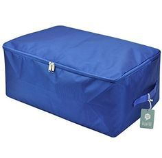 Large Waterproof Thick Oxford Comforter Storage Bag, Collapsible Design, Durable Handles for Season Items Storage (Sapphire blue, L) Qty: 3