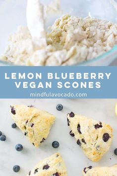 Scones are the perfect recipe for breakfast or brunch These vegan lemon blueberry scones are so easy to make and healthy Drizzle with a lemon glaze for the ultimate baked good Mindful Avocado Lemon Desserts, Vegan Breakfast Recipes, Vegan Sweets, Healthy Dessert Recipes, Vegan Snacks, Vegan Food, Scones Vegan, Healthy Scones, Vegan Scones Recipe Easy