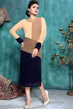 Shop Cream Blue Georgette Kurti Tunic Online. Get exclusive tunic designs   http://www.andaazfashion.co.uk/womens/kurti-tunic/cream-blue-georgette-kurti-tunic-krv026.html
