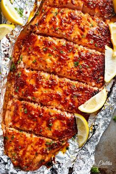 Garlic Butter Honey Mustard Salmon In Foil is a quick and easy salmon recipe, le. - Garlic Butter Honey Mustard Salmon In Foil is a quick and easy salmon recipe, leaving you with no p - Salmon Dishes, Fish Dishes, Seafood Dishes, Seafood Recipes, Healthy Dinner Recipes, Cooking Recipes, Easy Recipes, Honey Mustard Salmon, Mustard Chicken