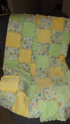 Yellow & green baby rag quilt