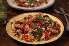 Griddled chicken thighs with chickpeas, piquillo peppers and lemony dressing