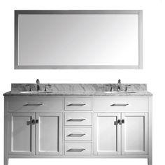 "Caroline 72"" Double Bathroom Vanity Set in White/ Italian Carrara White Marble Counter-Top"