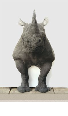 """--Kendra Haste--  """"Rhino"""" (2000)  Painted galvanised wire - unique  102(h) x 63(l) x 63(d) in / 60(h) x 160(w) x 160(d) cm"""
