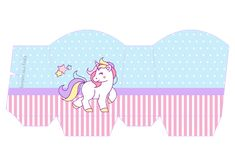 Unicorn: Free Printables  and Boxes for a Birthay Party.