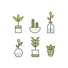 i like the geometric shapes that make up this icon set Icon Design, Web Design, Logo Design, Flat Design, Mini Drawings, Easy Drawings, Icon Set, Plant Icon, Sketch Note