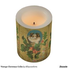 Vintage Christmas Collie Flameless Candle