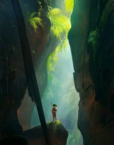 Concept of canyon with a tribal warrior