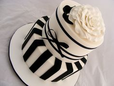 Black and White Stripe Wedding Cake by My Cake Place http://www.mycakeplace.com.au/
