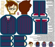 Tenth Doctor Doll fabric by risarocksit on Spoonflower - custom fabric