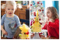 children decorating fruit christmas tree