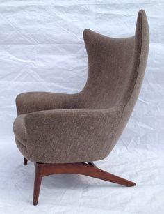 Mid Century Modern Danish Bramin H w Klein Sculptural Wingback Reclining Chair | eBay