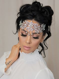 Crystal Diamond Forehead Headpiece Bridal Crown Vintage Halo Bride Hair Accessories Prom Hair Accessories Eygiptian Headpiece Belly Dancer - All For New Hairstyles Long Bridal Hair, Bridal Hair Vine, Bridal Crown, Bridal Tiara, Bridal Headpieces, Bridal Necklace, Wedding Jewelry, Crystal Necklace, Kundan Jewellery Set