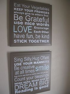 I have a thing for these kinds of signs, but especially love this version of 'family rules'...  all excellent words to live by.  Maybe someday I'll be confident enough (or more importantly, have enought time!) to try making one.
