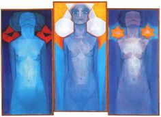 Piet Mondrian, Evolutie, oil on canvas This painting describes the three stages of the human soul evolution. Piet Mondrian, Theo Van Doesburg, Gouache, Three Primary Colors, Dutch Painters, Post Impressionism, Abstract Painters, Wow Art, Dutch Artists
